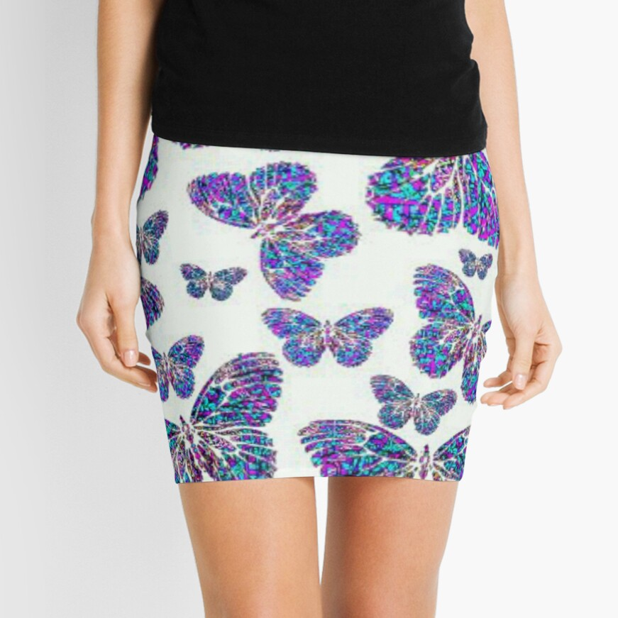 Mandala Butterfly Collage Mini Skirt