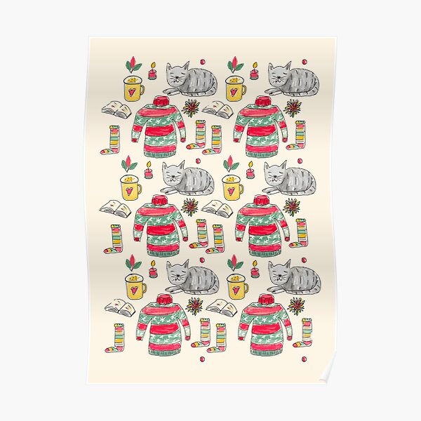 Cute Cats and Cozy Christmas Jumpers Pattern Poster