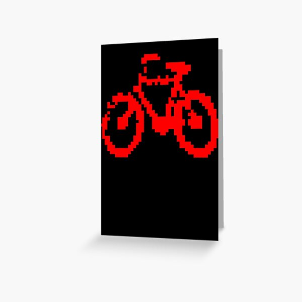 1 bit pixel bike (red) Greeting Card