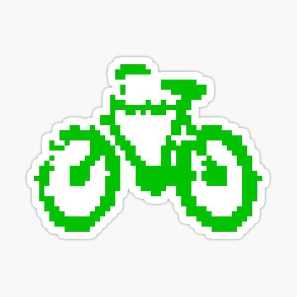 1 bit pixel bike (green) Sticker