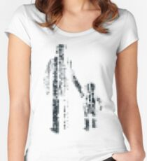8 bit pixel pedestrians (dark) Women's Fitted Scoop T-Shirt