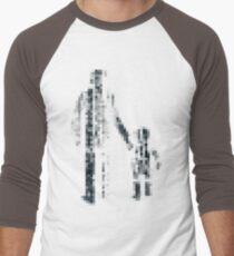 8 bit pixel pedestrians (dark) Men's Baseball ¾ T-Shirt