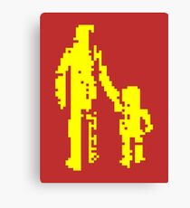 1 bit pixel pedestrians (yellow) Canvas Print