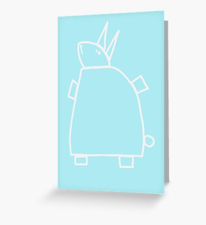 The green rabbit (outline white) Greeting Card