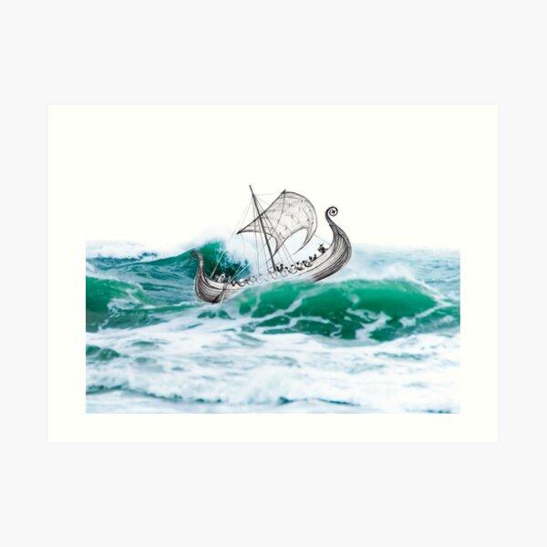 Viking Ship in a Storm Art Print