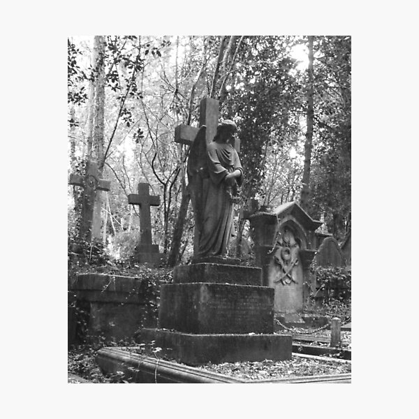 Highgate Cemetery Angel Cross Photographic Print