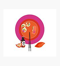 Sushi plate & chop sticks Photographic Print