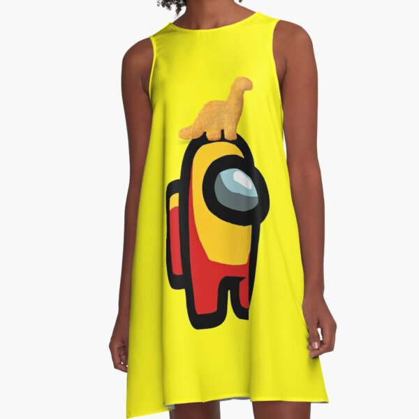 Among Us Dino Nugget Pet with Ketchup and Mustard A-Line Dress