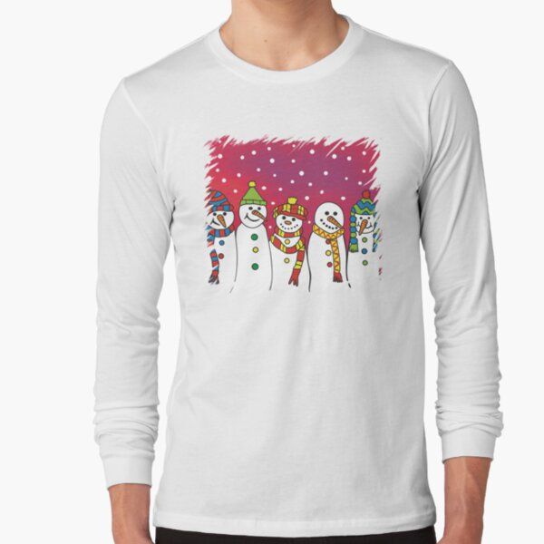 Snowmen in a line Long Sleeve T-Shirt