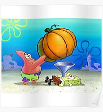 Sponge Bob Pumpkin Force Feeding Poster