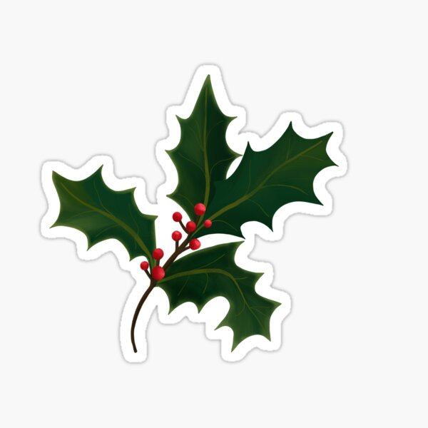 Christmas Holly Branch Sticker