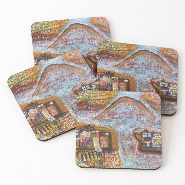 """NOWAA ON THE AORK"" Coasters (Set of 4)"