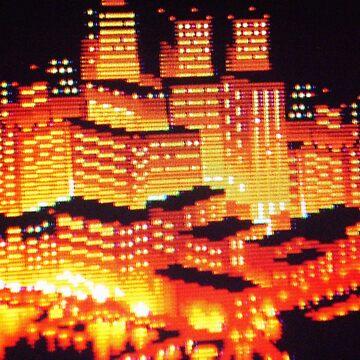 8-bit pixel cityscape by UnitShifter