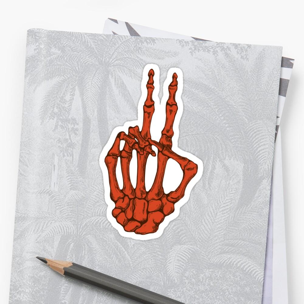 Pegatinas «Mano de esqueleto de paz - Naranja» de BonesToAshes ...