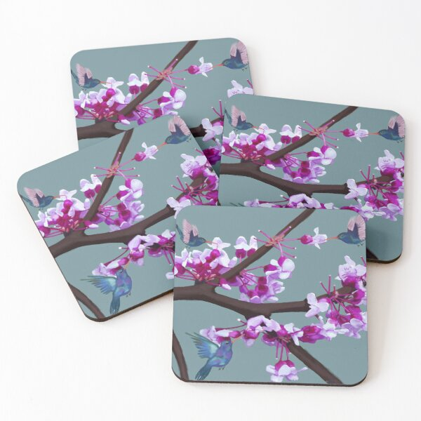 Cherry Blossom Hummingbirds Coasters (Set of 4)