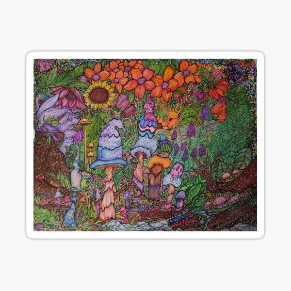"""The Magic Garden"", Original Ink Illustration Sticker"
