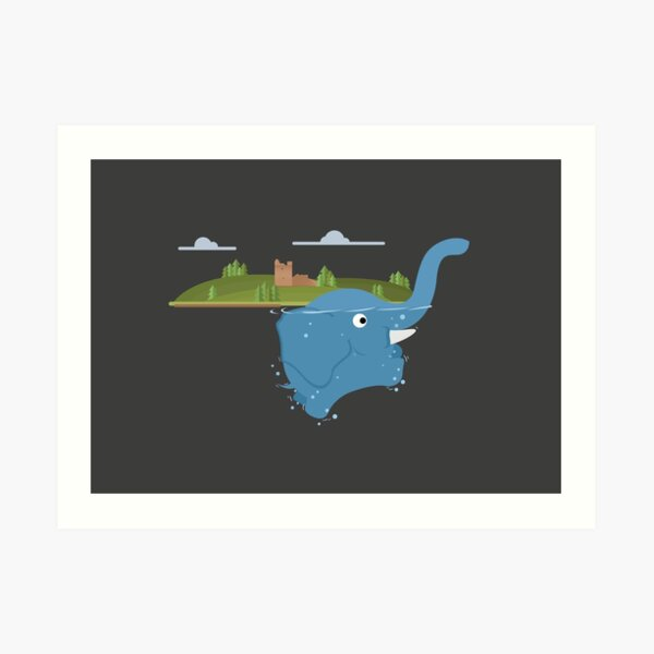 Lochness monster is an floating elephant Art Print