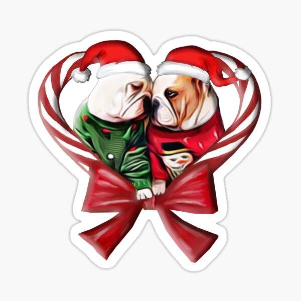 CHRISTMAS BULLDOG  Sticker