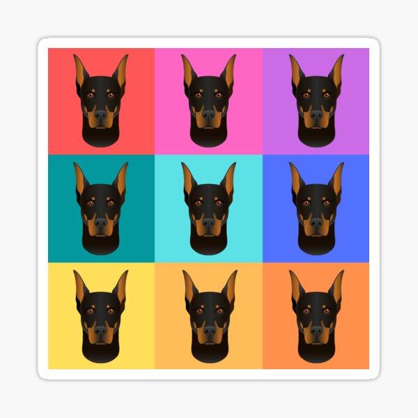 Doberman dog pop art in Warhol Style Sticker
