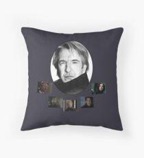 The Many Faces of Alan Rickman Throw Pillow