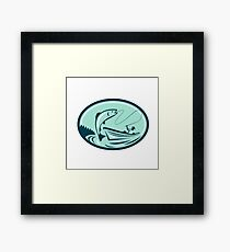 Fly Fisherman Boat Reeling Trout Retro Framed Print