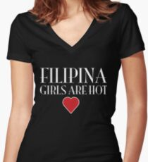 Philippines girls are hot  Women's Fitted V-Neck T-Shirt