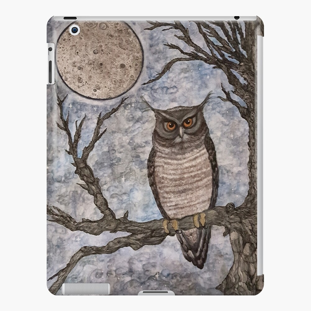 """""""The Watcher"""", owl perched under the full moon. iPad Case & Skin"""