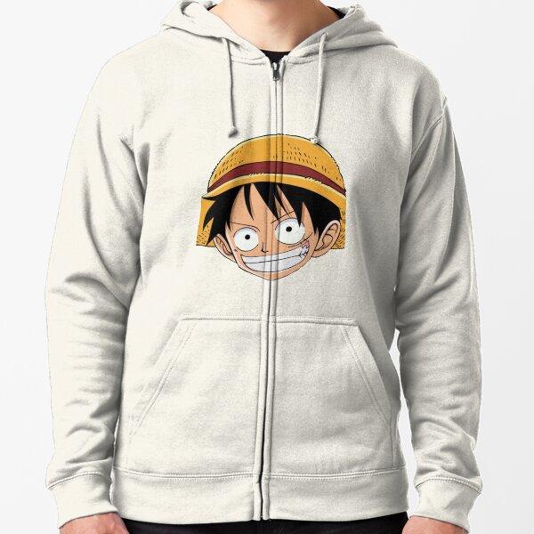 Luffy Anime Sticker (One Piece) Zipped Hoodie