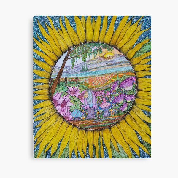 """""""Sunny Daze"""", full color illustration in a magical, psychedelic style created in ink and watercolor pencils Sherry D. McGrath. Canvas Print"""