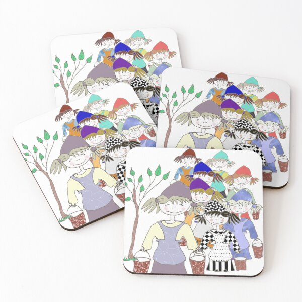 Eight Maids a-Milking Coasters (Set of 4)
