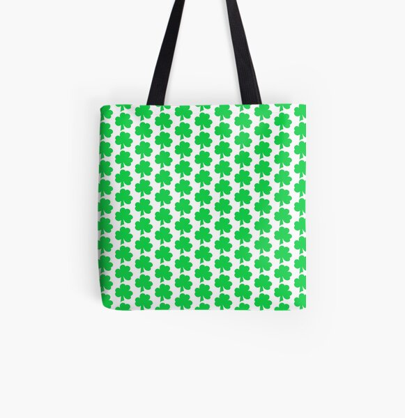 Irish Green Clover All Over Print Tote Bag