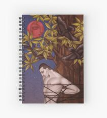 Tied to a tree under a blood moon Spiral Notebook