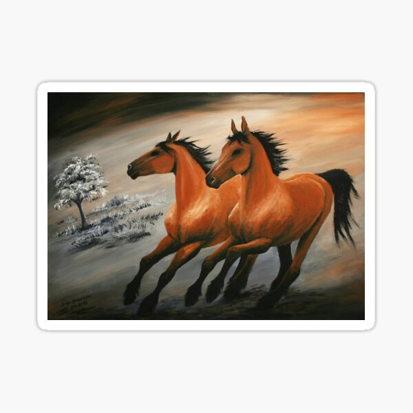 Galloping horses painted in shades of brown. Sticker