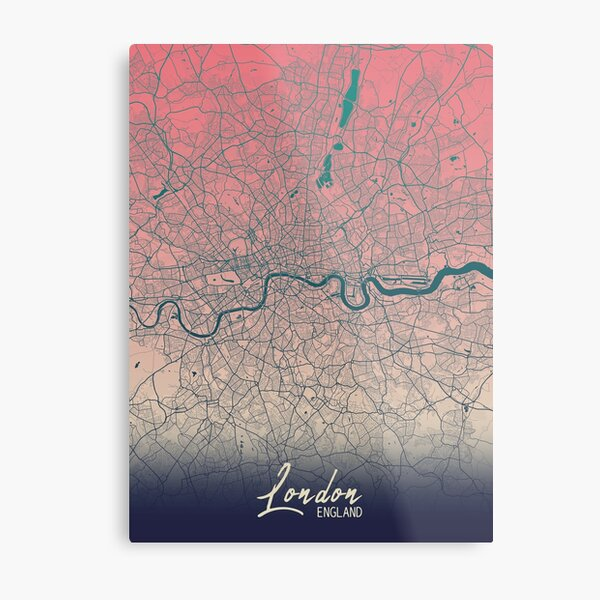 London Colorful Minimalistic Map Metal Print