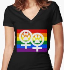 Lesbian kitty Women's Fitted V-Neck T-Shirt