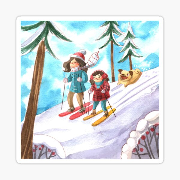 Mom and Daughter Skiing with Dog in Winter  Sticker