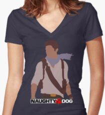 Uncharted 3 - Minimalist Drawing Women's Fitted V-Neck T-Shirt
