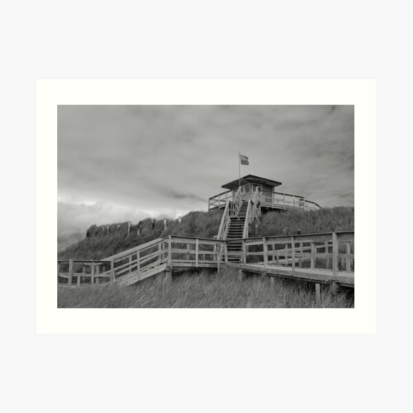 Lifeguard Station Rossnowlagh Donegal bw Art Print