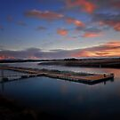 Sunrise over Salmon Farm by Linda Cutche