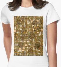 Steampunk-Panel, Zahnräder und Rohre - Messing Tailliertes T-Shirt für Frauen