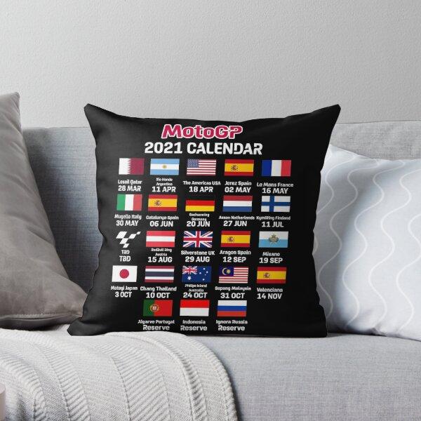 MotoGP 2021 Season Calendar Throw Pillow