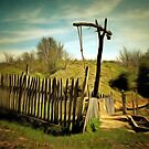 A digital painting of A Beam Well in Barda, Romania by Dennis Melling