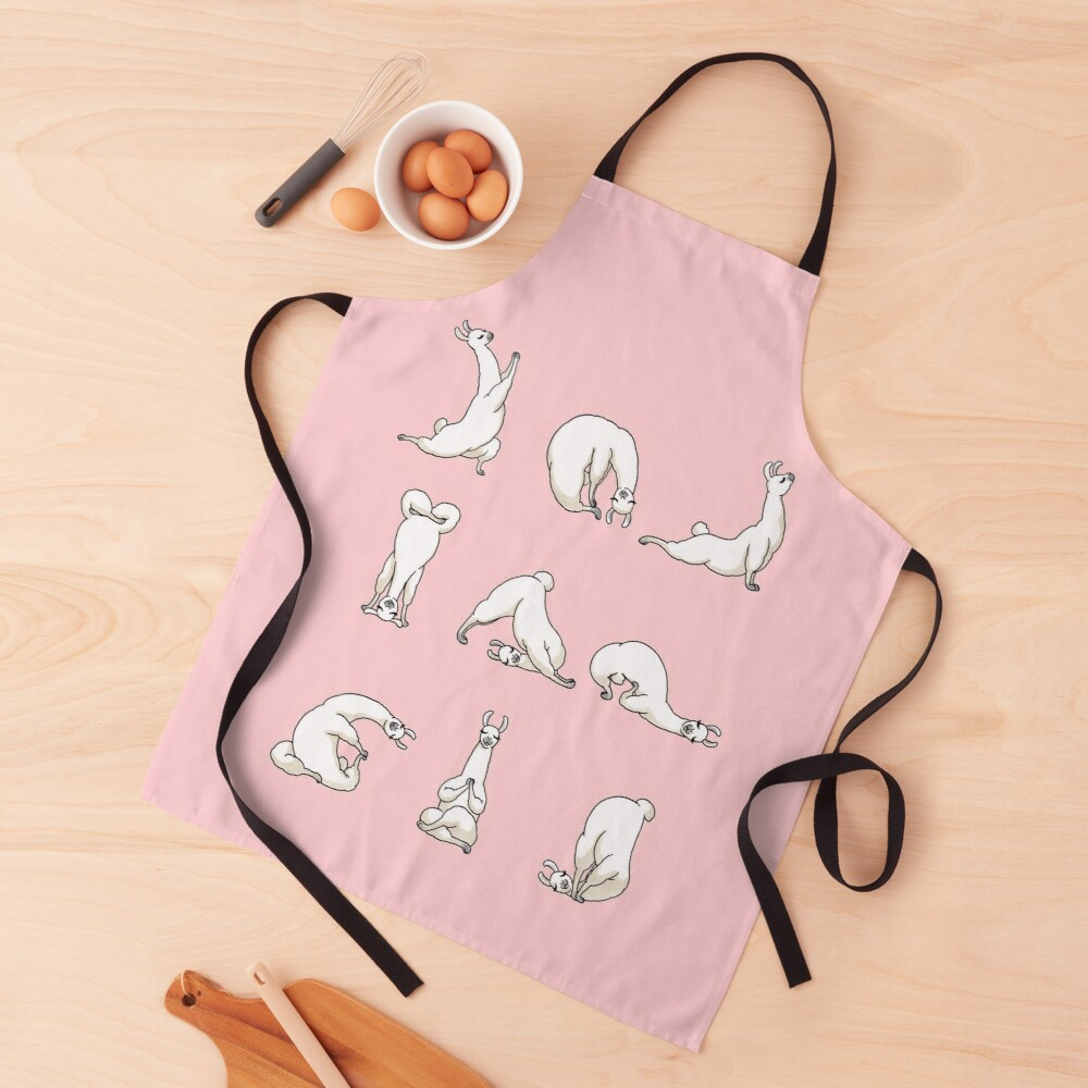 Yoga LLama in Pink Apron