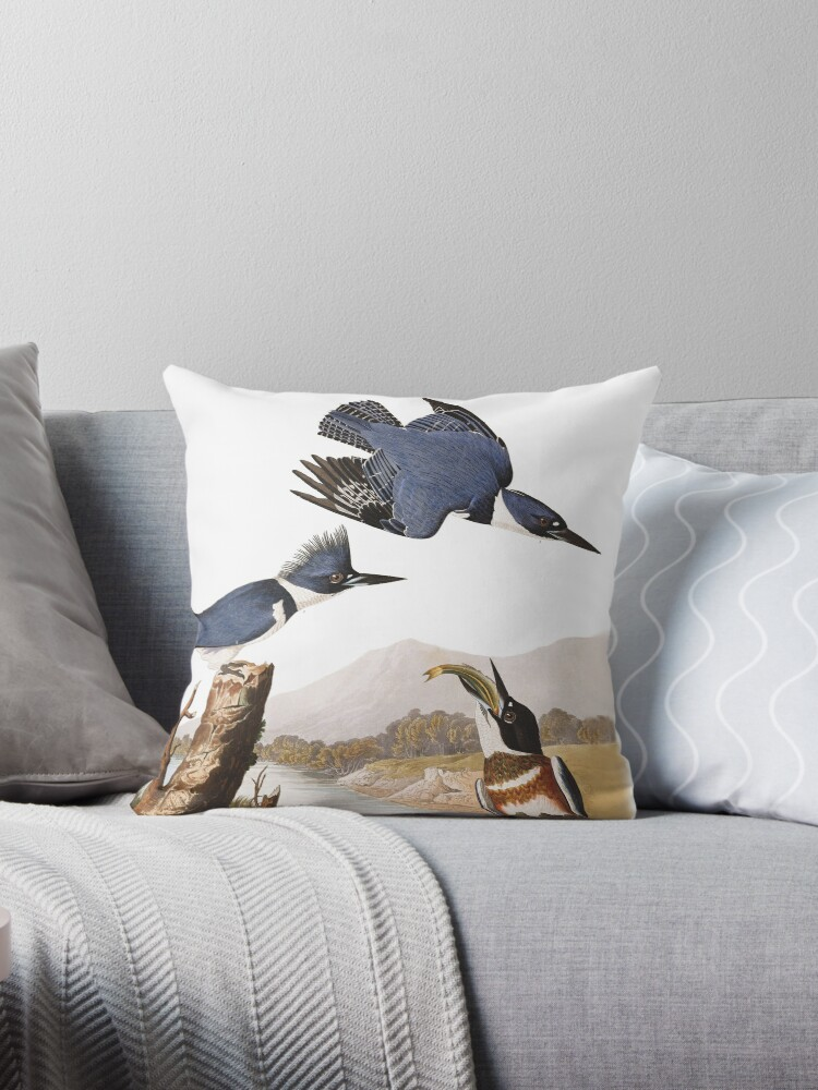 Belted Kingfishers By John James Audubon Throw Pillow By Thecurators Redbubble