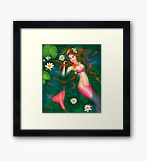 beautiful Fantasy mermaid with lilies Framed Print