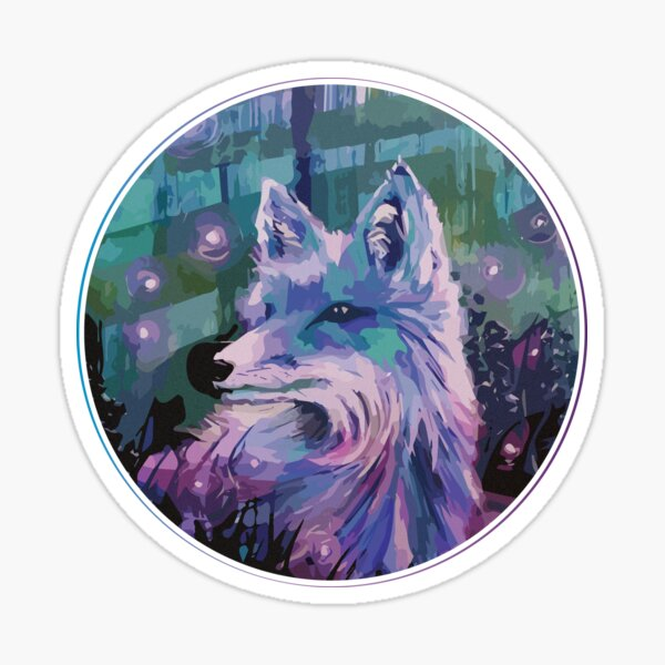 Cool Fox with Fireflies Sticker