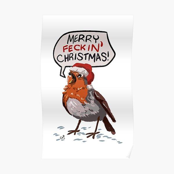 Angry Christmas Robin Poster