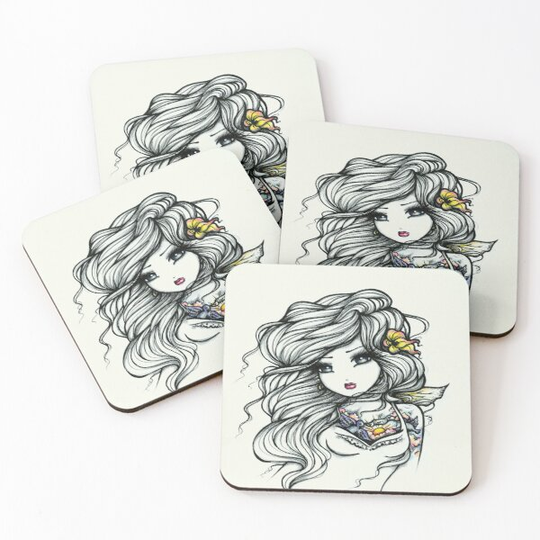 Tattooed Beauty Black and White with a Pop of Color Coasters (Set of 4)