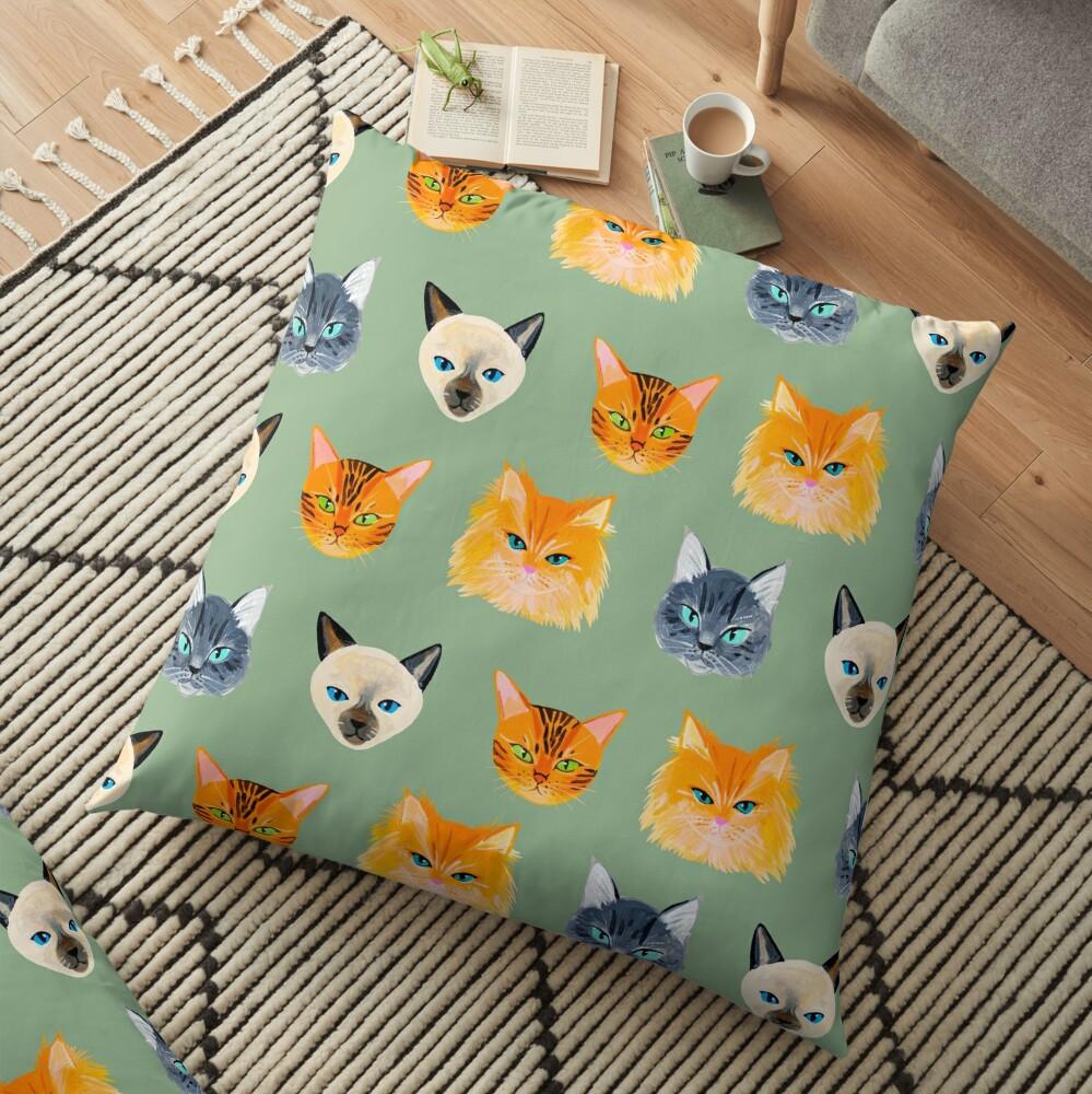 Cats Olive Floor Pillow