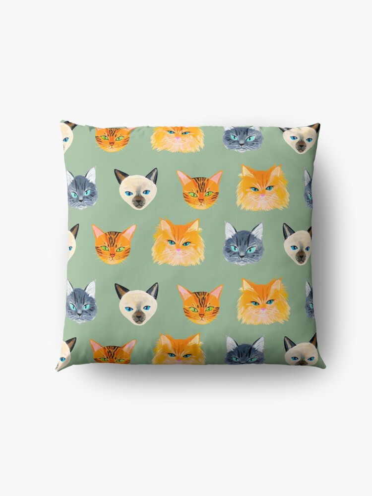Alternate view of Cats Olive Floor Pillow